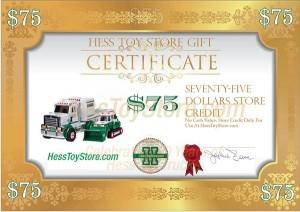 Hess Gift Certificate: $75